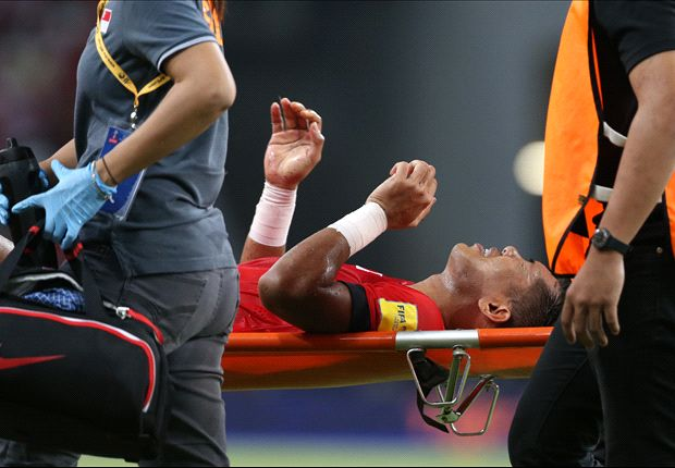 Khairul Amri gets stretchered off at the stroke of half time vs Cambodia (cr: goal.com)